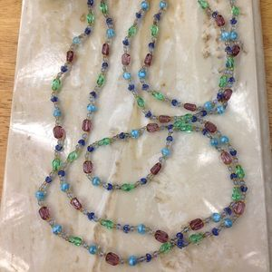 VINTAGE EXTRA LONG GLASS BEADED NECKLACE
